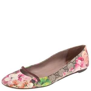 Gucci Multicolor Floral Print GG Supreme Canvas Ballet Flats Size 37.5
