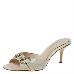 Gucci White Leather Hollywood Horsebit Open Toe Slide Sandals Size 37