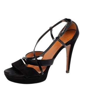 Gucci Black Suede And Patent Leather Platform Ankle Strap Sandals Size 39.5