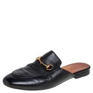 Gucci Black Leather Princetown Mule Flats Size 38.5