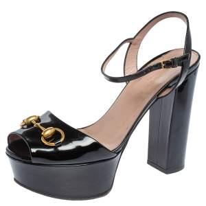 Gucci Black Patent Leather Claudie Horsebit Peep Toe Platform Sandals Size 37