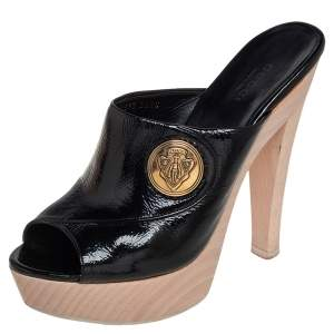 Gucci Black Patent Leather Hysteria Platform Clogs Size 36.5