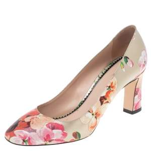 Gucci Multicolor Floral Printed Leather Blooms Pumps Size 38