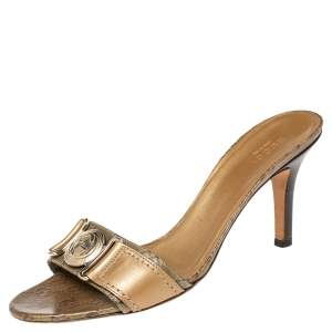 Gucci Gold/Brown GG Crystal Canvas and Leather Interlocking G Buckle Slide Sandals Size 38