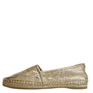 Gucci Gold Leather Flat Espadrilles Size EU 33