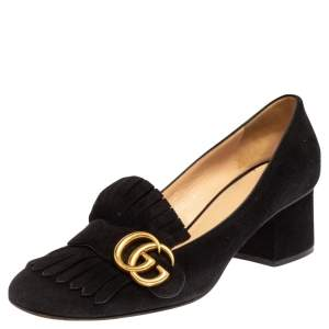 Gucci Black Suede GG Marmont Block Heel Pumps Size 39
