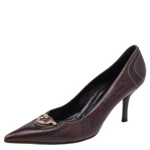 Gucci Brown Guccissima Leather Pointed Toe Pumps Size 40.5