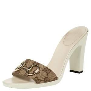 Gucci Brown/Beige GG Canvas Horsebit Slide Sandals Size 38