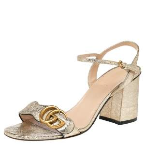 Gucci Metallic Gold Leather GG Logo Marmont Sandals Size 37