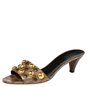Gucci Brown/Beige Leather Embellished Slide Sandals Size 37.5