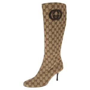 Gucci Brown/Beige GG Canvas Mid Calf Boots Size 37