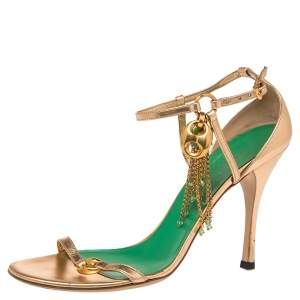 Gucci  Metallic Gold  Leather  Charm Sandals Size 38.5