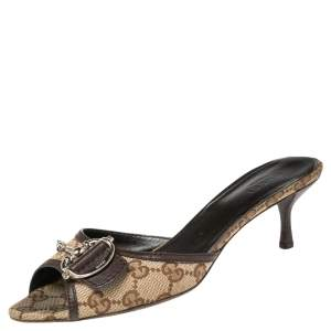 Gucci Beige/ Brown Canvas And Leather  Horsebit Slide Sandals Size 37.5