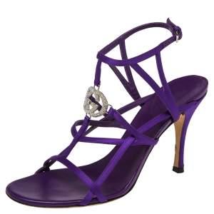 Gucci Purple Satin GG Logo Ankle Strap  Sandals Size 38