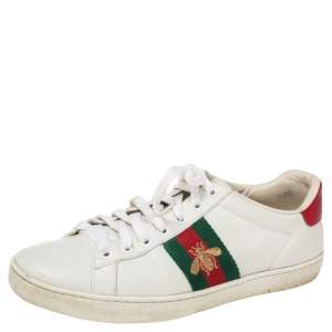 Gucci White Leather And Snakeskin  Ace Low Top  Sneakers Size 37