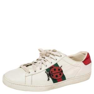 Gucci White Leather  Bee Ace Low Top  Sneakers Size 40.5