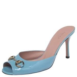 Gucci Blue Patent Leather Horsebit  Sandals Size 39.5