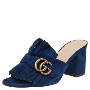 Gucci Blue Suede Leather GG Marmont Fringe Mules Size 38.5