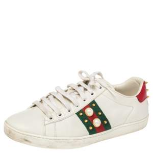 Gucci White Leather Low Top  Ace  Sneakers Size 38