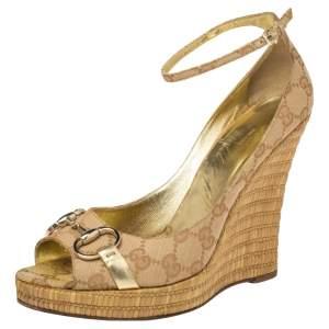 Gucci Beige GG Canvas Horsebit Open Toe Ankle Strap Platform Wedges Pumps Size 39