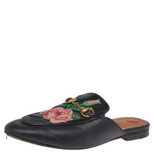 Gucci Black Leather Rose Embroidered Princetown Horsebit Flat Mules Size 37.5