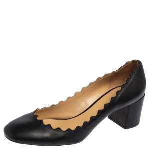 Chloe Black Leather Lauren Scalloped Pumps Size 40