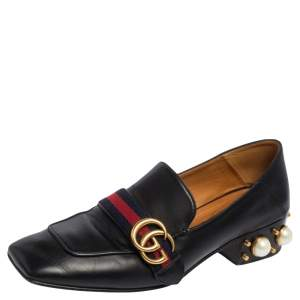 Gucci Black Leather Web GG Marmont Faux Pearl Embellished Loafer Pumps Size 40
