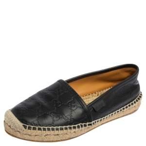 Gucci Black Guccissima Leather Pilar Espadrille Flats Size 36