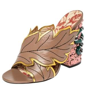 Gucci Beige Leather Webby Leaf Slide Sandals Size 36.5
