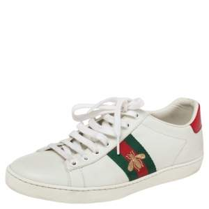 Gucci White Leather Embroidered Bee Ace Low Top Sneakers Size 38