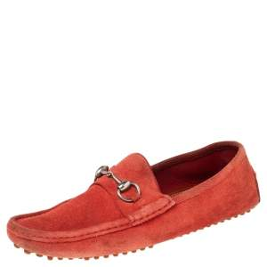 Gucci Red Suede Horsebit Loafers Size 42