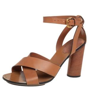 Gucci Tan Leather And Suede Crisscross Ankle Strap Sandals Size  39