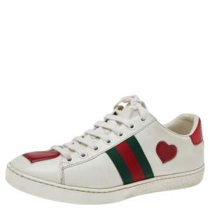 Gucci White Leather Ace Heart Web Low Top Sneakers Size 37