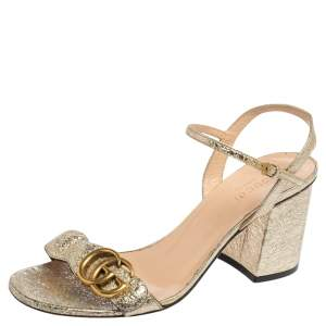 Gucci Metallic Gold Leather GG Marmont Block Heel Ankle Strap Sandals Size 37