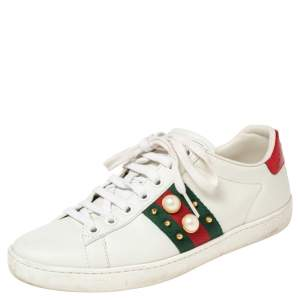 Gucci White Leather Ace Faux Pearl Embellished Low Top Sneakers Size 36
