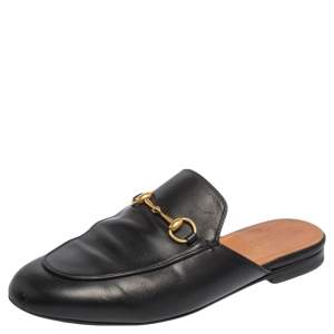 Gucci Black Leather Princetown Mules Size 37