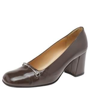 Gucci Brown Leather Horsebit Block Heel Pumps Size 37