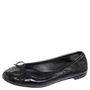 Gucci Black Patent Leather GG Interlocking Bow Ballet Flats Size 35