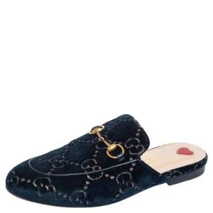 Gucci Green GG Velvet Princetown Mules Size 37