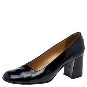 Gucci Black Leather Block Heel Pumps Size 37