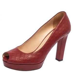 Gucci Red Microguccissima Leather Peep Toe Platform Pumps Size 38