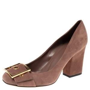 Gucci Brown Suede Buckle Detail Block Heel Pumps Size 38.5