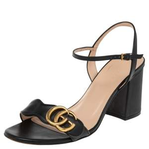 Gucci Black Leather GG Marmont  Sandals Size 38