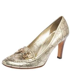 Gucci Metallic Gold Guccissima Leather Horsebit Loafer Pumps Size 36