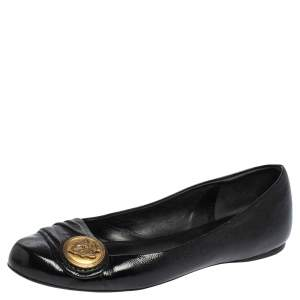 Gucci Black Patent Leather Hysteria Ballet Flats Size 36