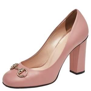Gucci Pink Leather Horsebit Pumps Size 36.5