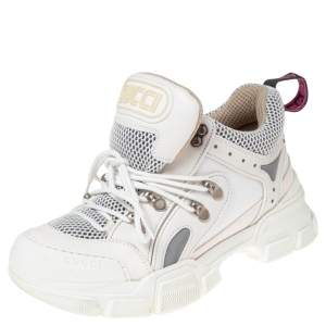 Gucci White/Cream Mesh And Leather Flashtrek Sneakers Size 37.5