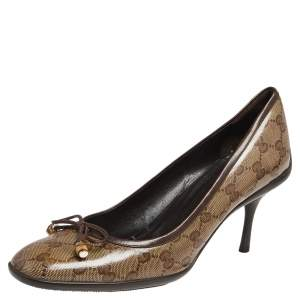 Gucci Brown/Beige GG Crystal Canvas Bow Round Toe Pumps Size 40