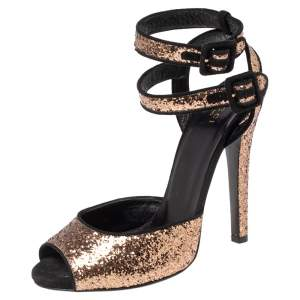 Gucci Black/Gold Glitter and Suede Ankle Strap Sandals Size 38