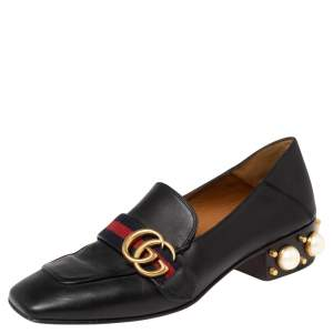 Gucci Black Leather GG Marmont Pearl Collapsible Mid Heel Loafers Size 37.5